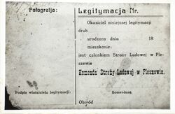 Photocopy of an ID card of a member of the People's Guard in Pleszew