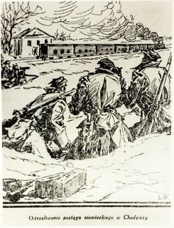 A drawing presenting the shelling of a German train in Chodzież