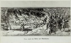 A drawing presenting the fire of the bridge near Białośliwie